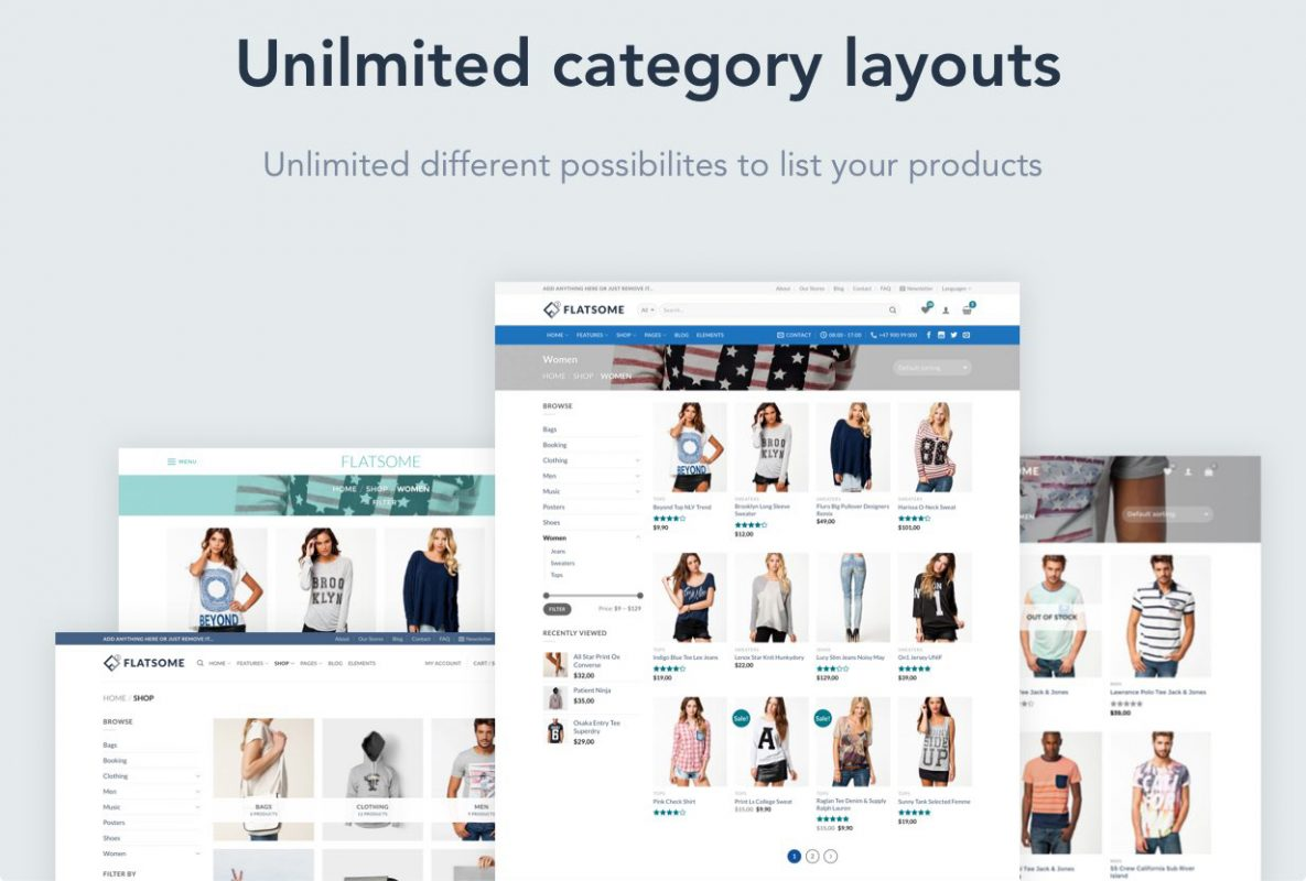 2020 best woocommerce theme -flatsome theme-300+ defined layouts and sections-one click demo-live search-unlimite cataloug